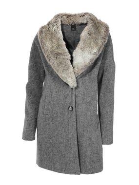 Sivý vlnený kabát s kožušinou HEINE - B.C.