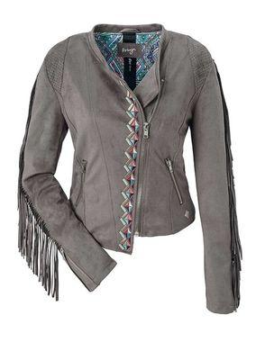 Štýlová sivobéžová bunda so strapcami Maze