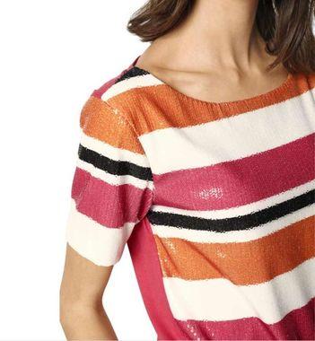 Tričko s flitrami, oranžovo-ružová