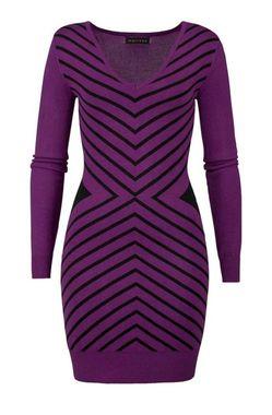 Úpletové fialovo-čierne šaty Melrose