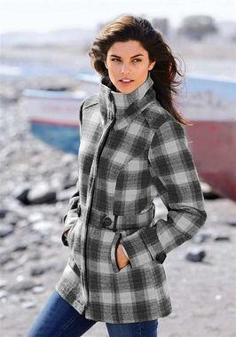 Vlnený kabát v káro vzore BOYSENS