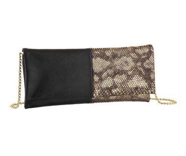 Clutch kabelka Melrose, čierno-zlatá