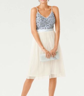 Koktejlové šaty s tylovou sukňou, krémovo bielo-strieborné