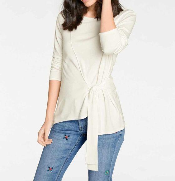 Asymetrický jemný pletený sveter, krémová
