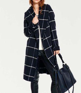 Karovaný vlnený kabát, modro-kremová