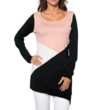 Asymetrický dlhý sveter, ružovo-čierny