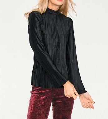 Charizmatická plisovaná košeľa, čierna