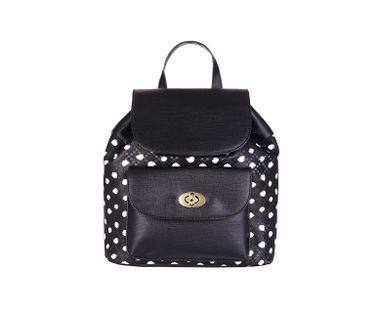 Dvojfarebný ruksak s predným vreckom, čierno-biela