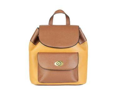 Dvojfarebný ruksak s predným vreckom, hnedá