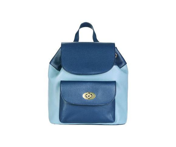 Dvojfarebný ruksak s predným vreckom, modrá