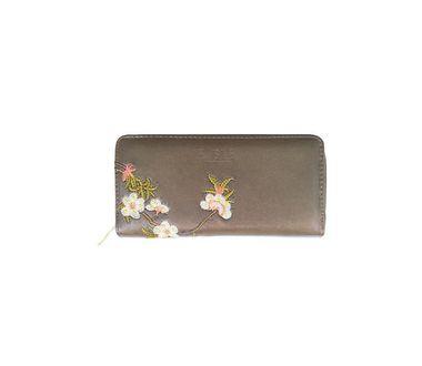 FABLE listová peňaženka s vyšívanými kvetmi - bronzová