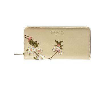 FABLE listová peňaženka s vyšívanými kvetmi - krémová