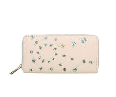 FABLE listová peňaženka s vyšívanými včelami - béžová