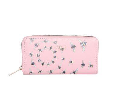 FABLE listová peňaženka s vyšívanými včelami - ružová