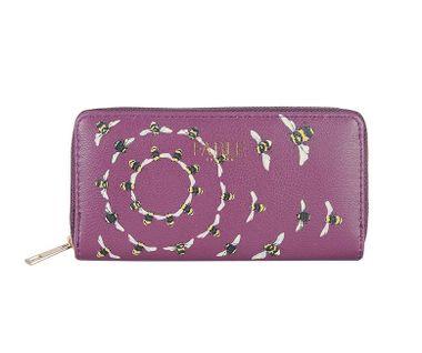 FABLE listová peňaženka s vyšívanými včelami - slivková