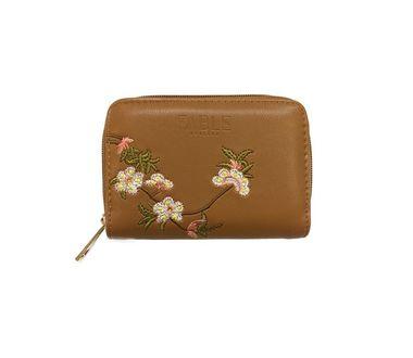 FABLE peňaženka s vyšívanými kvetmi - hnedá