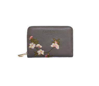 FABLE peňaženka s vyšívanými kvetmi - šedá