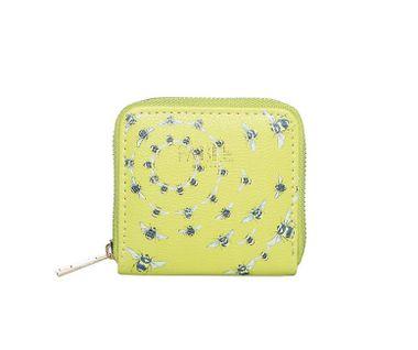 FABLE peňaženka s vyšívanými včelami - svetlozelená