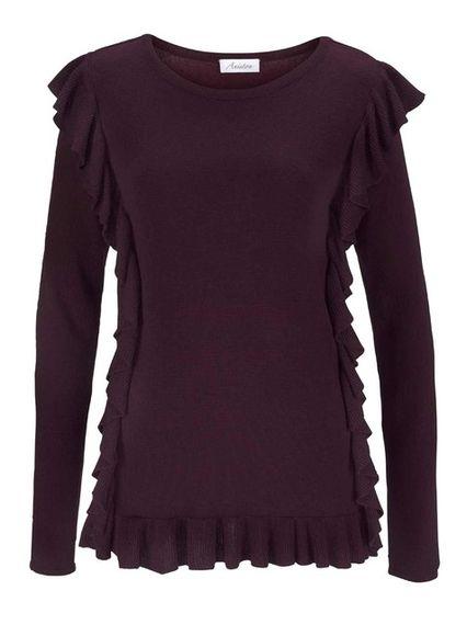 Jemný pletený pulóver Aniston, bordó