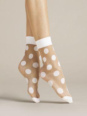 FIORE silonkové ponožky bodkované VIRGINIA, biele