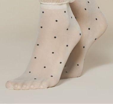 FIORE silonkové ponožky s bodkami ANA, kremová