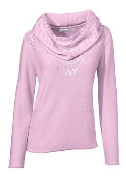 Flitrovaný pulóver so šálom, ružový