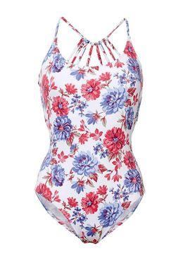Kvetované jednodielne plavky s pásikmi na chrbte Heine
