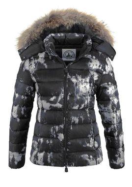 Páperová bunda s pravou kožušinou JOTT, čierno-sivá