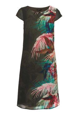 Šifónové šaty s potlačou »Dolores«, olivovo-farebné