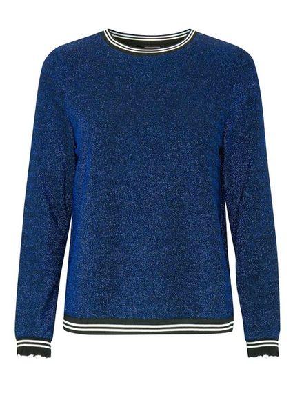 Trblietavý pulóver ICHI, modro-čierna