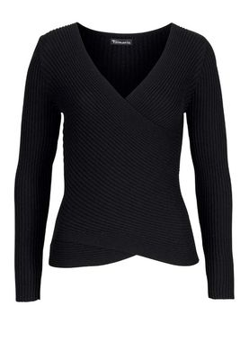 Rebrovaný pulóver Tamaris, čierna