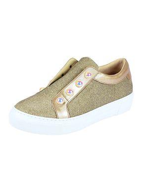 Kožené topánky GABOR s perlami, zlatá