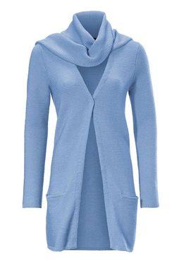 Merino-vlnený kardigán so šálom, modrý