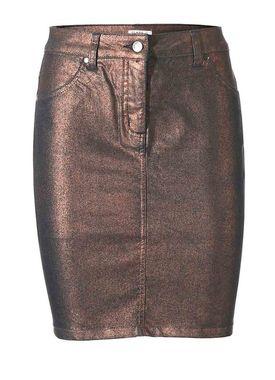 Metalická džínsová sukňa meď