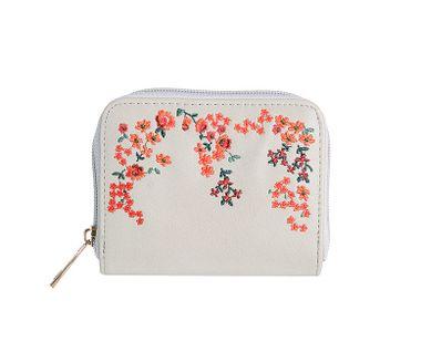 Peňaženka vyšívaná kvetmi, béžová