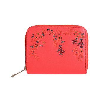 Peňaženka vyšívaná kvetmi, červená