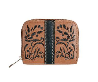 Peňaženka s ľudovým motívom, hnedo-čierna