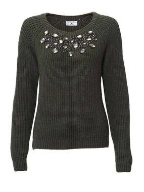 Pletený sveter s klenotom, khaki