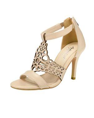 Pohodlné kožené sandále v Cut Out dizajne, béžová