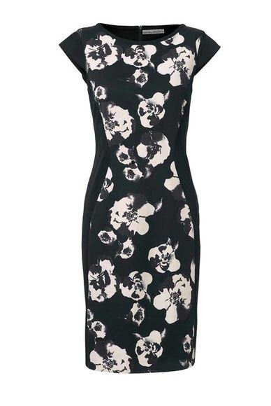 Púzdrové šaty s telo formujúcou spodničkou, čierno-krémová