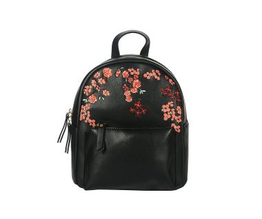 Ruksak vyšívaný kvetmi, čierna