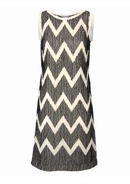 Šaty s kontrastnými flitrami, krémovo-čierne