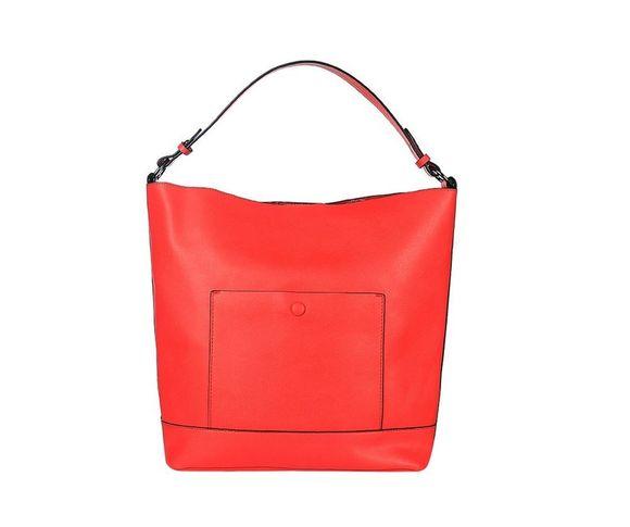 Shopperka na plece s predným vreckom, malinovo-červená