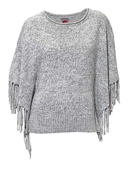 Sivý pončo-pulovér