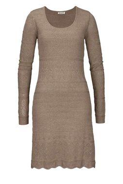 Pletené šaty s ažúrovým vzorom, sivo-béžové