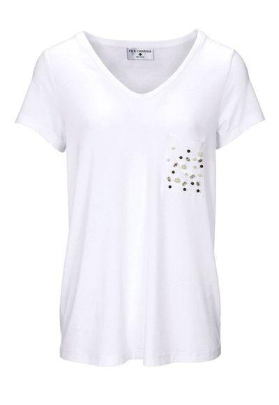 Tričko s perlami Rick Cardona, biela