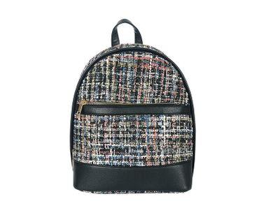 Tvídový ruksak s predným vreckom, čierna