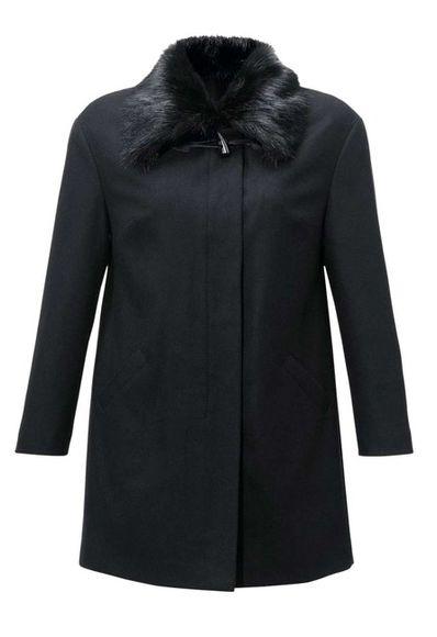 Vlnený kabát s kožušinou Guido Maria Kretschmer, čierna