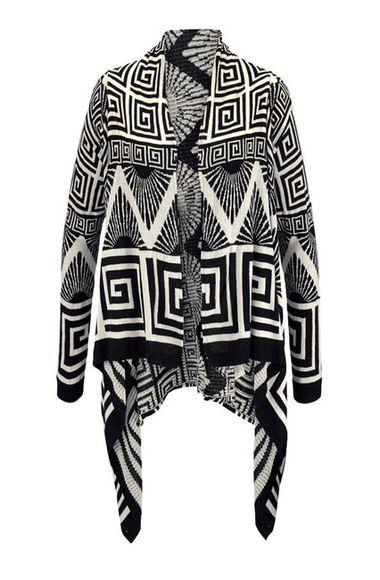 Žakarový sveter, čierno-krémový Tom Tailor Denim