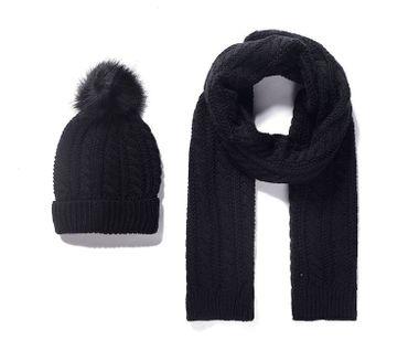Pletený detský šál a čiapka - čierna